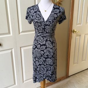 Navy/White Floral Wrap Dress